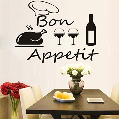 Dalxsh Französisch Küche Esszimmer Wandaufkleber Diy Vinyl Türkei Kochmütze Weinflasche Und Brille Aufkleber Wandbild Home Decor Moderne 59X44 Cm