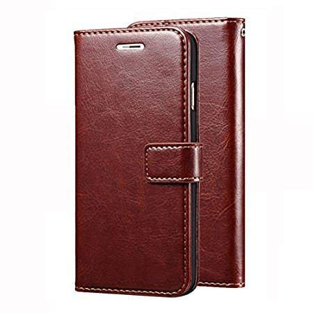 Trifty Original Leather Stylish Look Diary Flip Cover for Samsung Galaxy J7 2015 Model - Brown