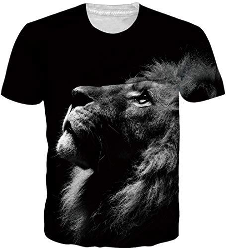 Loveternal 3D T-Shirt Herren Löwe T-Shirt 3D Druck Casual Grafik Sommer Kurzarm Tops Tees L -