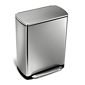 simplehuman wide pedal rectangular bin 50 l fingerprint proof brushed stainless steel amazon. Black Bedroom Furniture Sets. Home Design Ideas