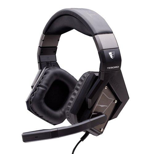 Tesoro Kuven Devil Gaming Headsets Black Color - Leder Logo Platte