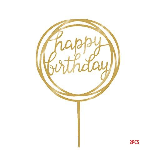 Gankmachine Ronda Feliz Cumpleaños de la Torta de acrílico de Oro del Brillo centelleo del Bricolaje Torta de la Magdalena de Smash Partido de la Vela Hecha a Mano del palillo