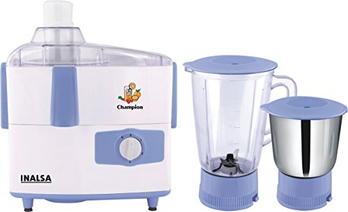 Inalsa Champion 450-Watt Juicer Mixer Grinder (White/Light Blue)  available at amazon for Rs.1899