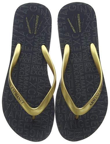 Armani exchange rubber slide multicolor, infradito donna, oro (gold+dk grey 00194), 41 eu