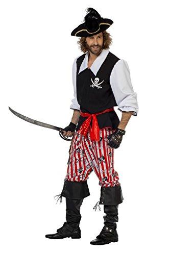 Karneval Klamotten Piraten-Kostüm Herren Kostüm Pirat Kapitän Komplett-Kostüm schwarz-rot-weiß Abenteuer Herrenkostüm Größe 54