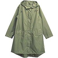 LaoZan Mujer Raincoats De Ripstop Poncho De Lluvia Impermeable Con Capucha Chupasquero Verde del ejército