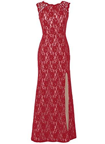 Bbonlinedress Robe de cérémonie Robe de mère de la mariée en dentelle longueur ras du sol Rouge Foncé