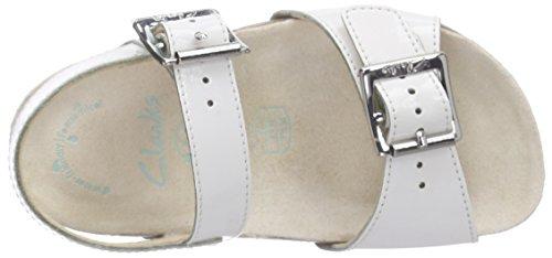 Clarks VolkinIcon Inf, Sandales Bride cheville fille Blanc (White Patent)