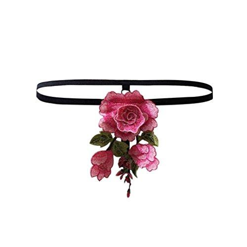 Frauen Unterwäsche VENMO Frauen Lace Hollow Floral Appliques Slips Schlüpfer Strings Dessous Unterwäsche (S, Schwarz) (Spandex Halter Mit Acryl)