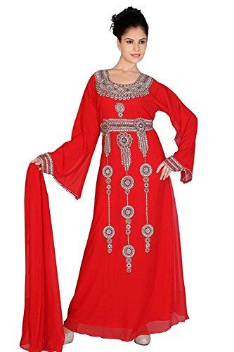 Stile Uak Abaya Caftano Burqa Jilbab Farsha Islamic Party Wear Vestito Lungo Vestito Red