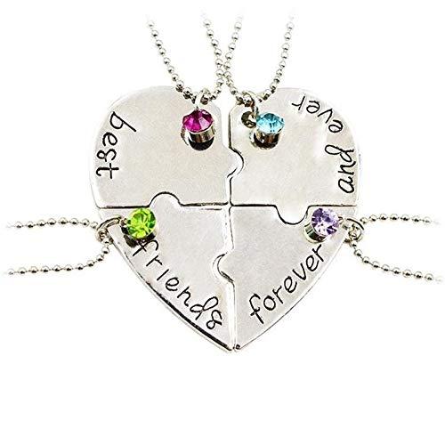 Bold N Elegant - Be Bold Inside & Elegant Outside Silver Plated Fantastic 4 Best Friends Forever Quartet Necklace Pendant Chain for Men and Women - Combo Pack of 4