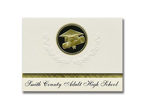 Signature Announcements Smith County High School (Carthage, TN) Abschlussankündigungen, Präsidential-Stil, Elite-Paket mit 25 Kappen und Diplomversiegelung, Schwarz und Gold