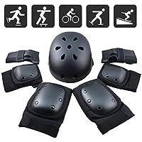 FUCNEN Sport Safety Gear Guard Set ajustable codo muñeca rodilleras y casco para niños, adolescentes y adultos, color negro, tamaño teenager(36-58kg)