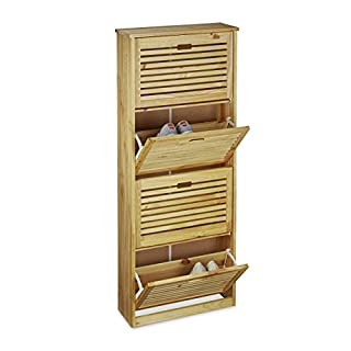 Relaxdays Rack Made of Pine Wood, Size: 135.5 x 55 x 20 cm Closet Storage Chest with 4 Compartments That Tip Forward Holder for 8 Pairs of Shoes for The Hallway, Natural Brown, 20x55x135.5 cm