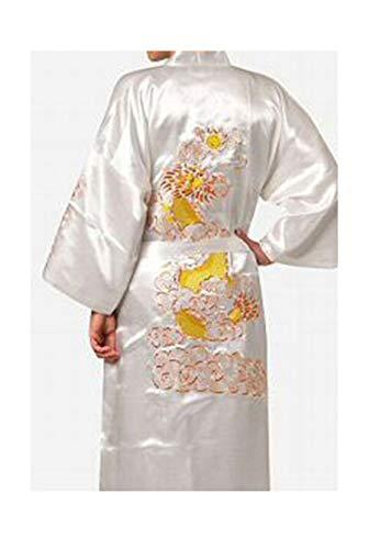 Plus Size XXXL Schwarz Frauen Silk Satin Robe Neuheit Stickerei Dragon Kimono Badekleid Nachtwäsche Nachthemd - Plus Size Satin-robe