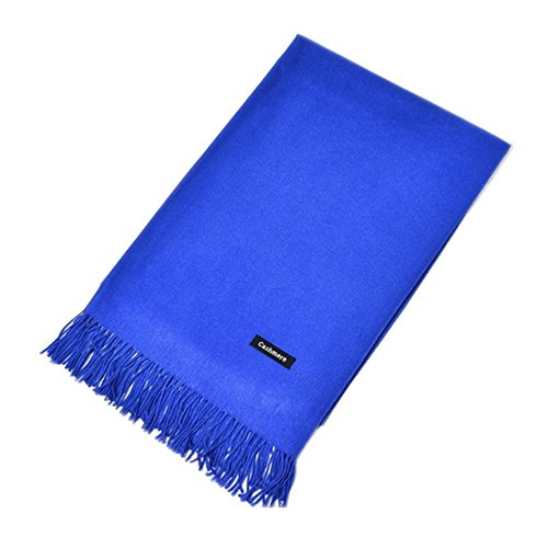 MMYOMI Frauen Männer Liebhaber Unisex glatt Kaschmir Schal 100% super weiche Plaid solide Pashmina Wrap Schal Schal (Blau)