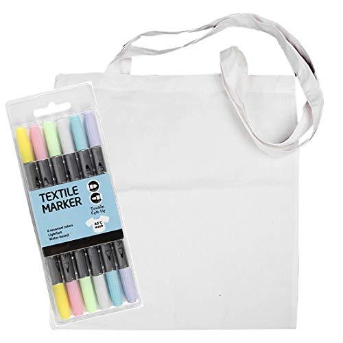 YooKreativ Einkaufstasche Weiß mit Textilmalstifte, 100% Baumwolltasche Unbedruckt, Lange Henkel Stofftasche, Tragetasche, Beutel, Baumwollbeutel, Einkaufstasche zum Bemalen