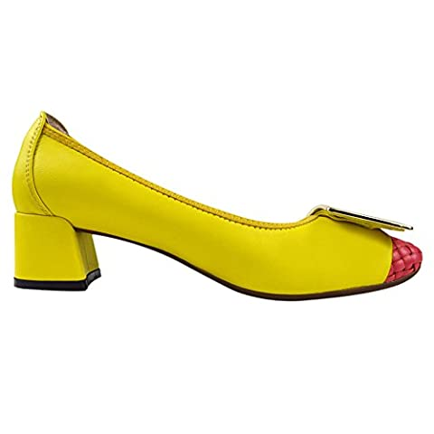 Frauen-Damen-Beleg auf Schaffell-Leder Mid-Ferse Chunky Schuhe Pumps 0018-9 (Rosa,38)