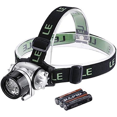LE 3200001 - Lámpara frontal LED, 18 LEDs blancos y 2 LED rojos, 4 niveles de brillo