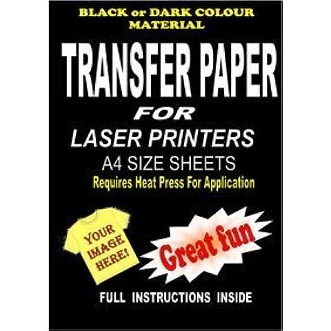 Laser y copiadora resorte camiseta y papel de transferencia de la tela para telas oscuras 20 A4 hojas