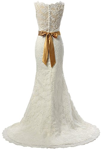 Changjie Damen Bateau-Ausschnitt Ohne Arm Meerjungfrau Lace-Satin Hochzeitskleider A-Linie Brautkleider Elfenbein