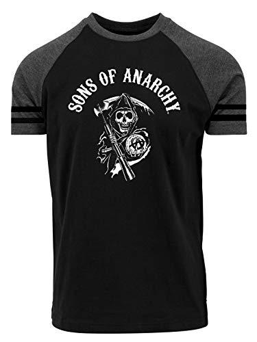 Sons of Anarchy Reaper Raglan T-Shirt schwarz/grau-meliert, Größe:M