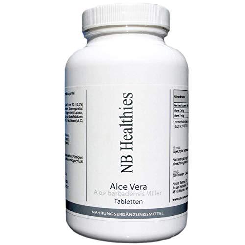 Aloe-vera-gel Tabletten (200 Kapseln Aloe Vera hochdosiert 200:1 Konzentrat 12.000mg pro Tablette, für Darm Detox Haut Tabletten Kautabletten Barbadensis Miller)