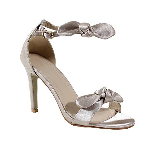 By Shoes Sandale à Talon Style Soie - Femme Abricot