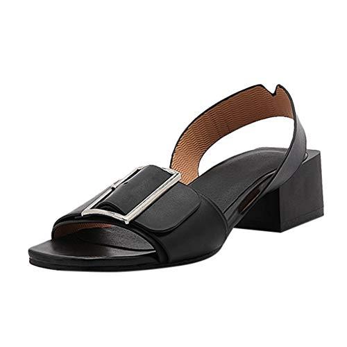 iYmitz Sommer Slingback Sandalen Mode Frauen High Heel Schuhe Sandalen Casual Wild Damen Römischen Outdoor Sandaletten(Schwarz,EU/43)