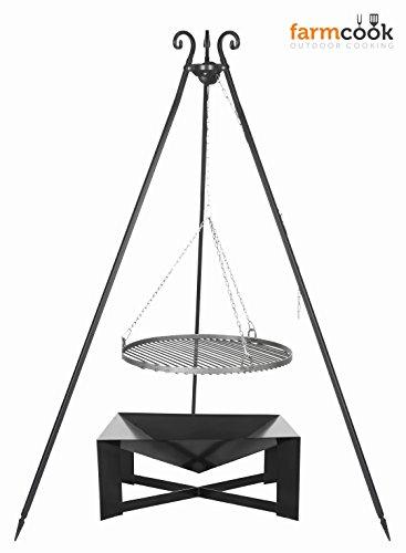 FARMCOOK Schwenkgrill VIKING Dreibein mit Grillrost aus Stahl mit Feuerschale PAN 34 in 3 Größen (Ø 70 cm)