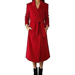 Mujer Delgadas Abrigo Falso Lana Chaqueta Largo Abrigo Chaqueta gabardinas largas XL Rojo