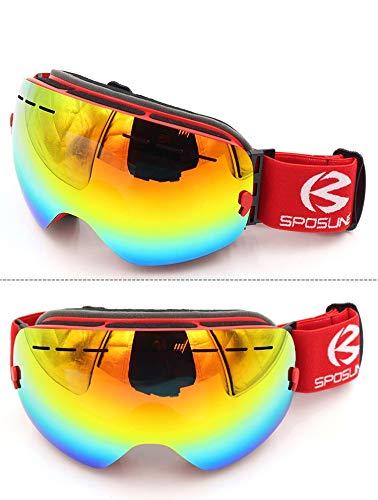 Yiph-Sunglass Sonnenbrillen Mode New Comprehensive REVO beschichteten großen sphärischen Spiegel Windproof Coca Brille Brille Skibrille Anti-Fog Anti-Fog-Männer Frauen (Color : Red)
