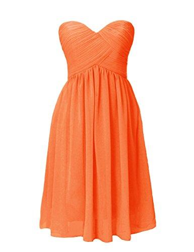 Dresstells, A-ligne longueur genou robe de demoiselle d'honneur en mousseline de soie sans bretelles, lacets au dos Orange
