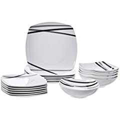 Idea Regalo - AmazonBasics - Servizio di piatti per 6 persone, 18 pezzi, Raggi moderni