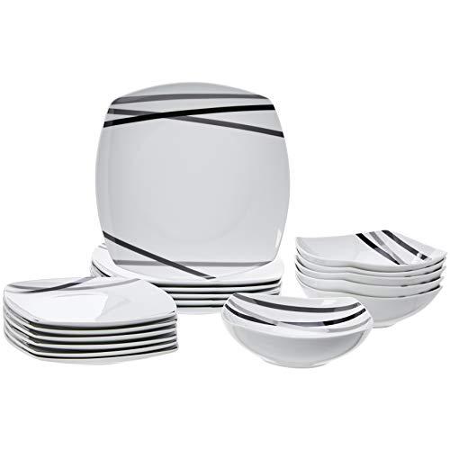 Amazonbasics - servizio di piatti per 6 persone, 18 pezzi, raggi moderni