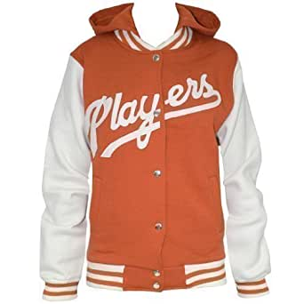 New Womens Ladies Baseball Hooded Players Track Hoodie Top Jacket Sizes S M L XL