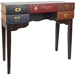 Escritorio mesa de trabajo en forma de libro para salón, de diseño vintage, estantería de madera pícea