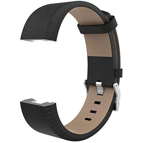 WAOTIER für Fitbit Charge2 Armband Leder Armband mit Edelstahl Verschluss Weicher Glättender Leder Ersatzband für Fitbit Charge 2 Armband Business Casual Retro Armband für Männer und Frauen (Schwarz)