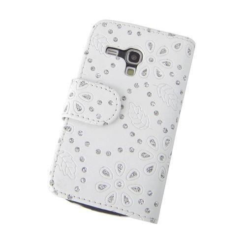 Etui de téléphone portable Coque Samsung Galaxy S3 mini i8190 Business Case Smartphone Case strass scintillants clignotant flip brillant de mode chic fleur blanc motif floral
