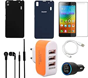 NIROSHA Tempered Glass Screen Guard Cover Case Car Charger Headphone USB Cable Charger for Lenovo K3 Note - Combo