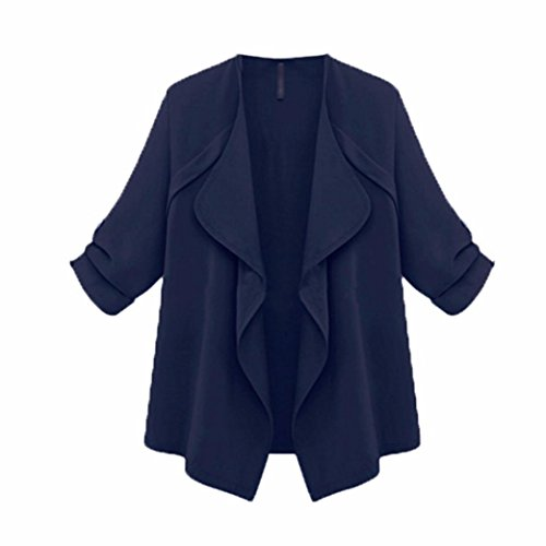 YunYoud Damen Frühling Herbst Große Größe Mantel Frau Lose Einfarbig Tops Lange Ärmel Outwear Mode Beiläufig Jacke (XXXXXL, Marine) (Mantel Groß)