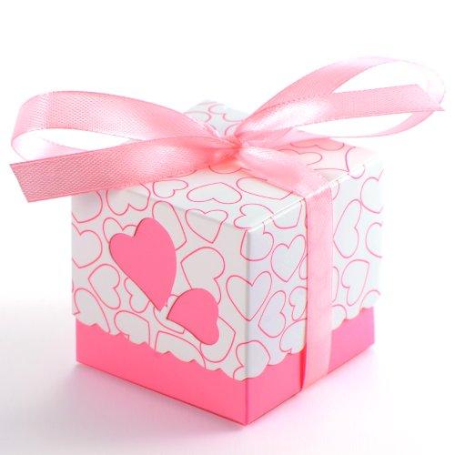 Bomboniere scatola cuore porta confetti segnaposto regalo con il nastro raso, 50pz (rosa)