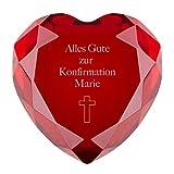 Herzdiamant zur Konfirmation mit Gravur (rot, Kreuz) - Personalisiertes Konfirmationsgeschenk mit Spruch/Glasdiamant ALS Geschenkideen für Jungen und Mädchen in Verschiedenen Farben