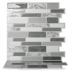 Tic Tac Tiles - Premium Anti Mold Peel and Stick Wall Tile Backsplash in Polito Grey (5 Tiles)