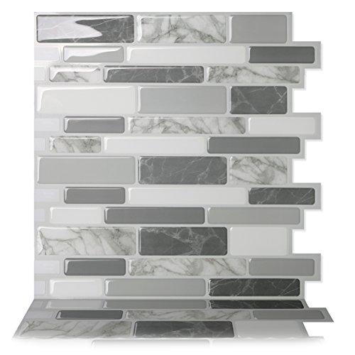 Tic Tac Tiles Anti Mold schälen und stecken Wand-Fliese Aufkantung In Polito Grau 5 10