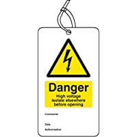 Caledonia Signs 55067 Danger High Voltage Isolate Elsewhere D/S Tag (10 Stück)