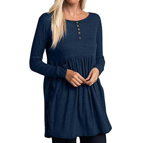 Zegeey Femme T-Shirts à Manches Longues Couleur Unie Automne Pullover Plissée T-Shirt Bouton Décontracté à La Mode à Manches Longues et à Col Rond Longue Tops Casual Blous