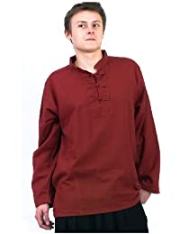 - Chemise homme Col mao nepalaise rouge fonce -