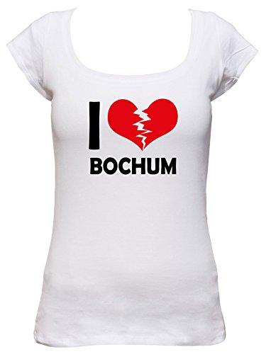 I don\'t love Bochum Fun Damen Boat Neck T-Shirt, Größe:XL;Farbe:weiss