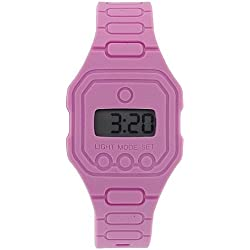 Pixelmoda Unisex Digital With Backlight Pink Trendy Flat Silicone Strap Watc